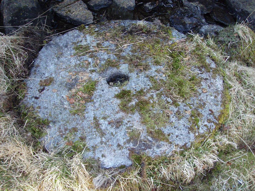 Ein kvernstein i Kvernsteinsparken i Hyllestad. Steinen ligg ute i graset og er dekt av mose.