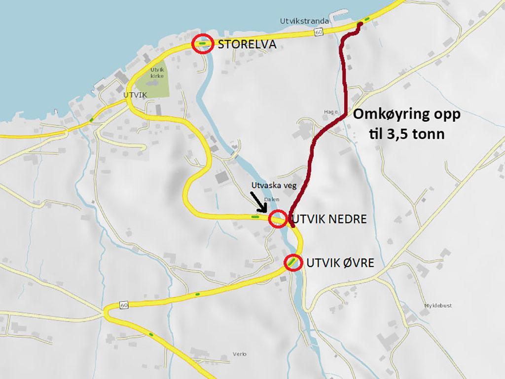 Kart som syner omkøyringsmoglegheit i Utvik etter at fv. 60 vart delvis vaska vekk av flaum. Den vanlege vegen er markert med gult, medan omkøyringsvegen er markert med raudt.