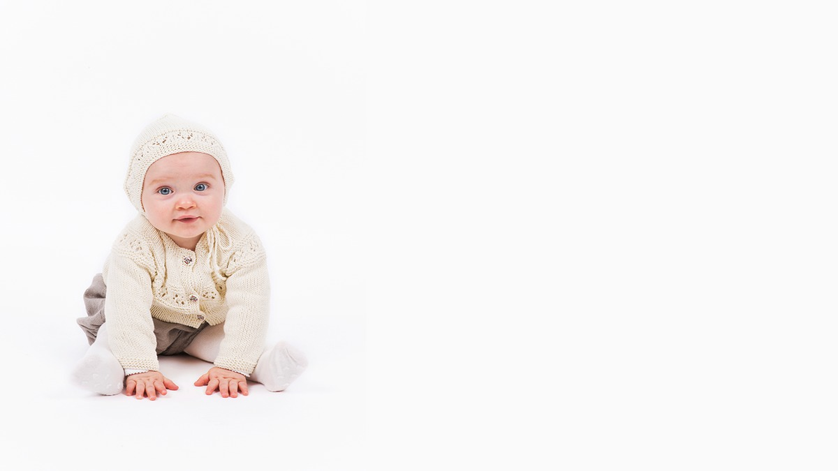 Babyjakke og babylue i bomull