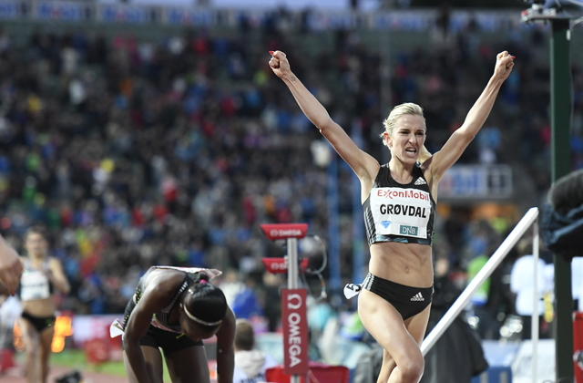 Ny rekord: Karoline Bjerkeli Grøvdal satte ny norsk rekord på 1 mile under Bislett Games i juni. Foto: Bjørn Johannessen/Kondis