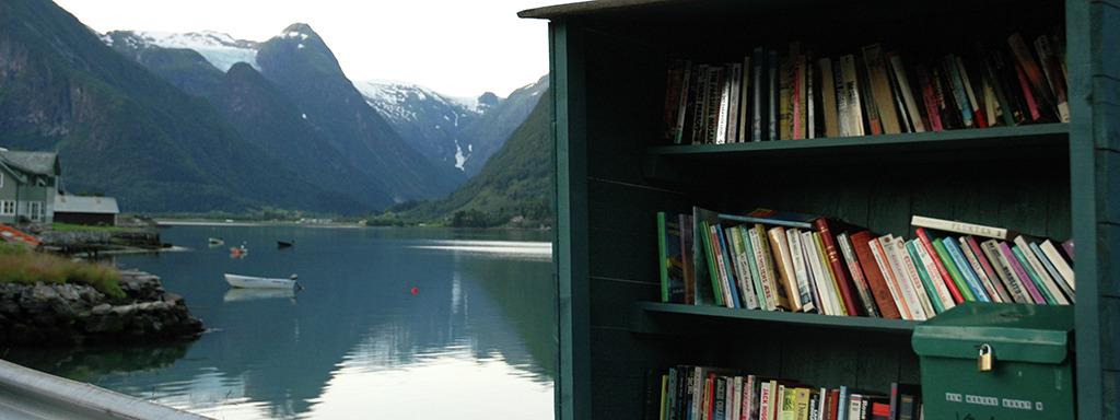 I bokbyen Fjærland er det sjølvplukk av bøker. Foto: Birthe Johanne Finstad