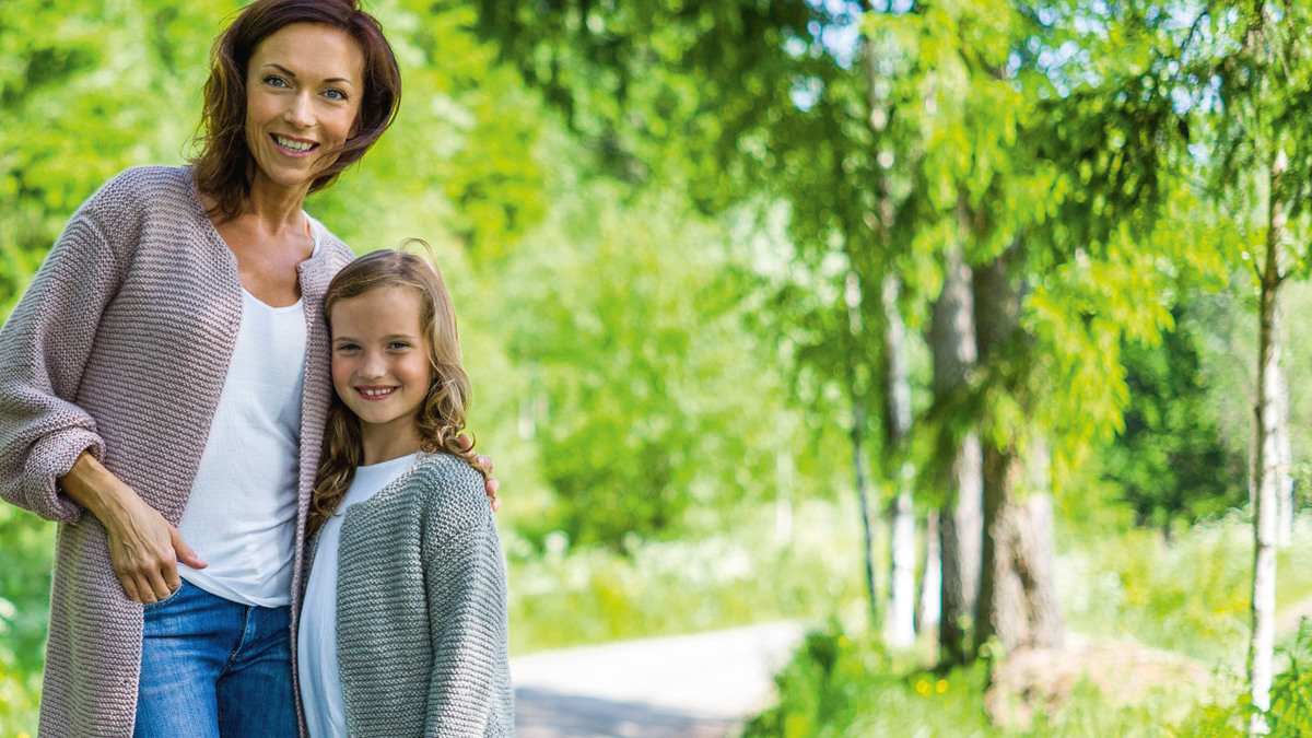Myskofta i rätstickning för dam och barn