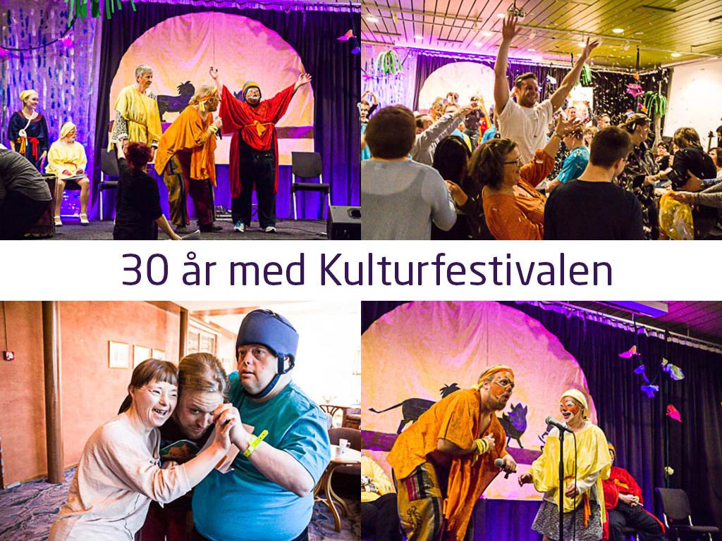 Fotocollage med fire bilete frå kulturfestivalen for utviklingshemma. Det er mykje fargar og bilete av folk på scener, som dansar osv. Midt på collagen står det 30 år med kulturfestivalen med lilla skrift på kvit bakgrunn.