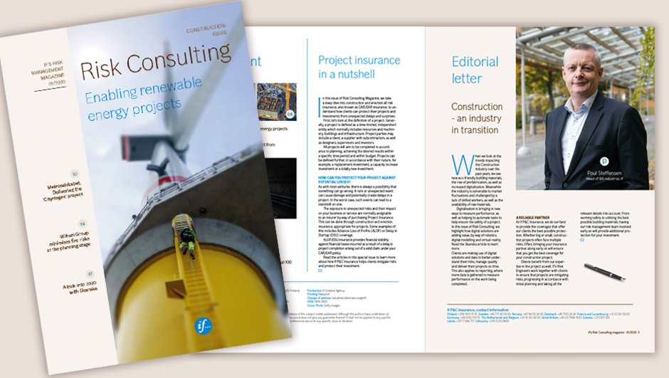cover pages of risk consulting, construction issue 2020.