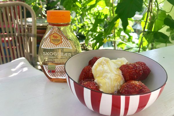 is-med-honning-og-jordbær