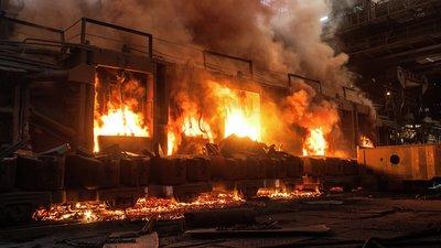 fierce warehouse fire.