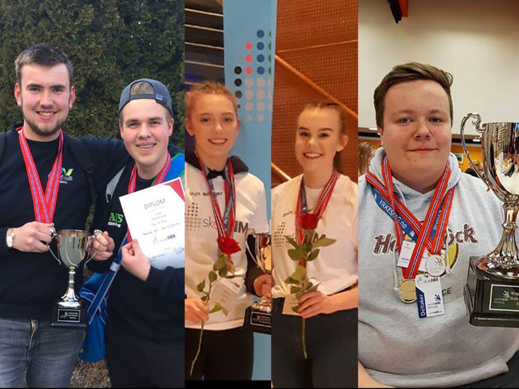 Fotocollage av dei fem elevane som fekk gullmedaljar i skule-NM 2019.