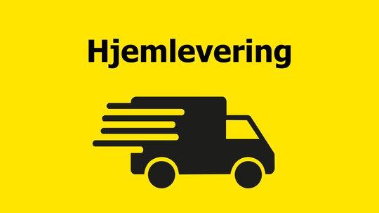 Ikon lastebil hjemlevering på gul bakgrunn