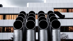 factory building ventilation pipes.