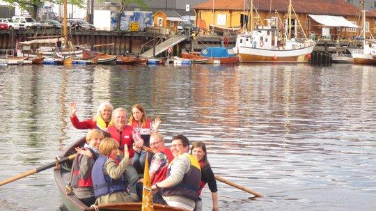 """Her fraktes passasjerer over kanalen i båten """"Fløtmann I"""". Foto: Kystlaget Trondhjem."""