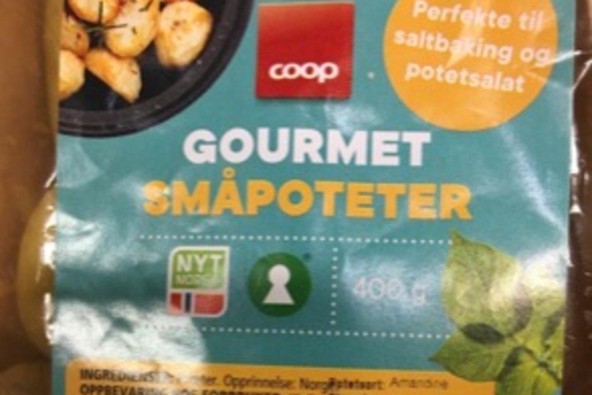Feilmerket Coop småpoteter med Nyt Norge
