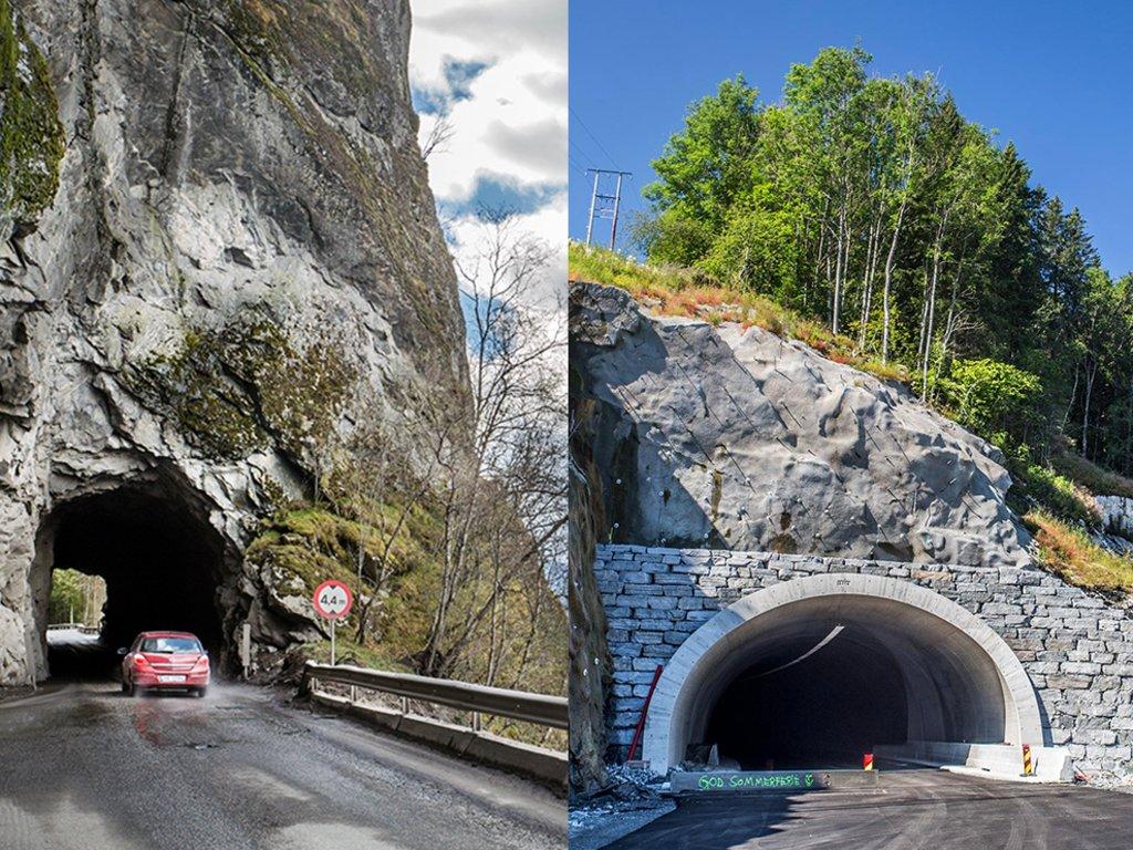 Fotocollage med bilete av ein ny og ein gamal tunnel mellom Olden og Innvik i Stryn.