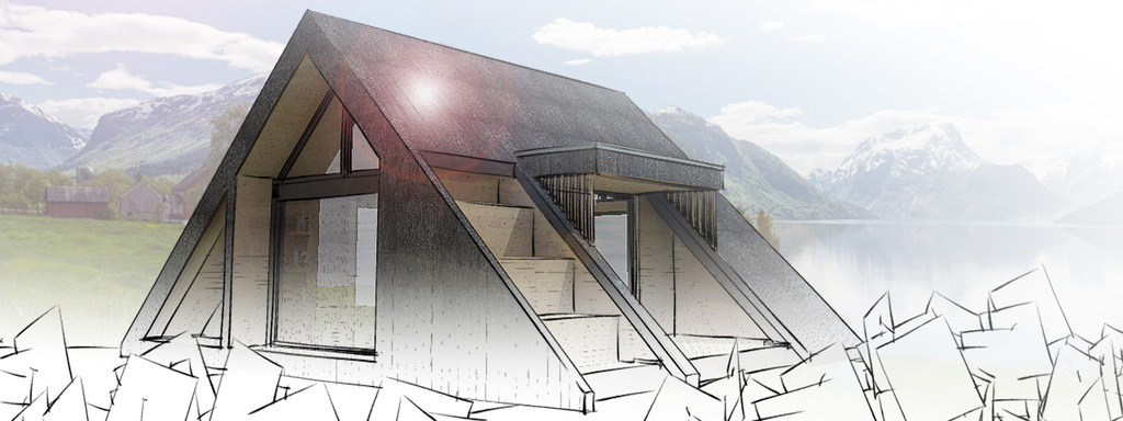 Illustrasjon av dagsturhytta, som skal kome i alle kommunane i Sogn og Fjordane. Hytta er forma som eit triangel, og vi ser eine sida, der det er store vindauge. På taket er det teikna sitjeplassar som i ei stor trapp.