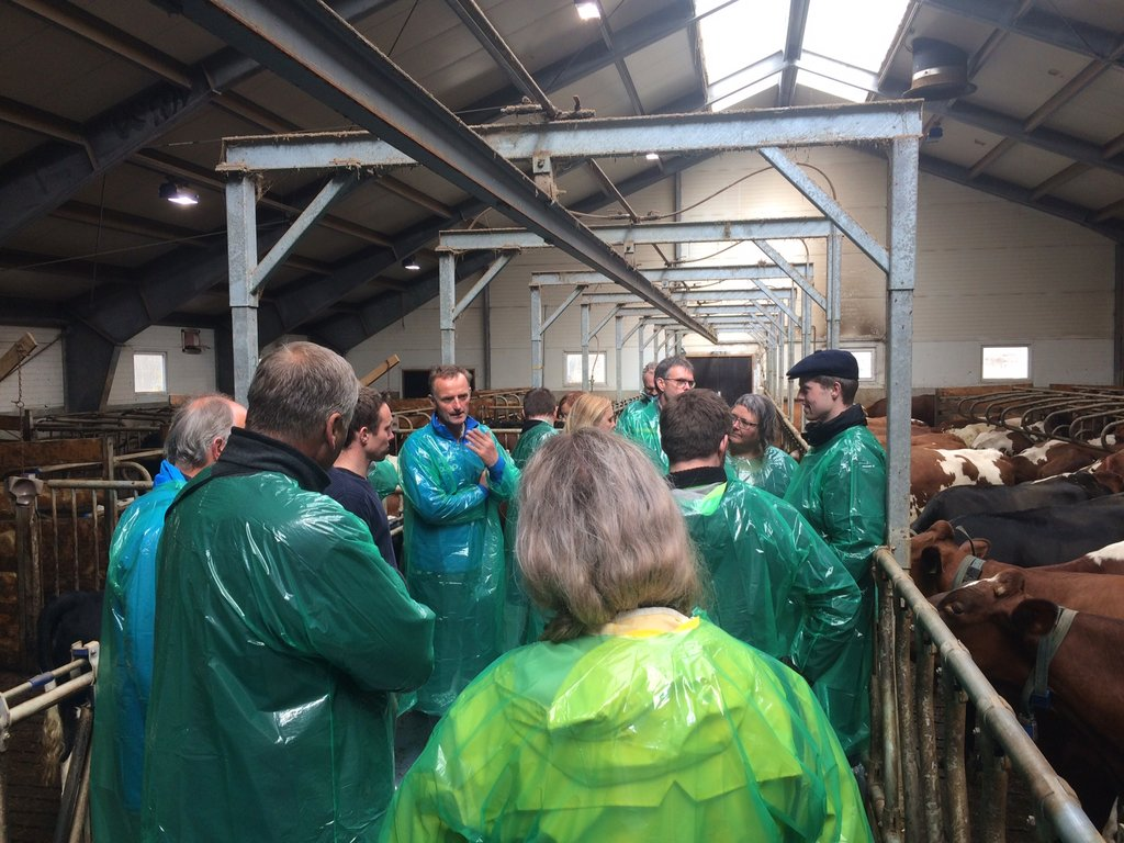 Hovudutval for næring og kultur på besøk i fjøsen på Bolset i Jølster