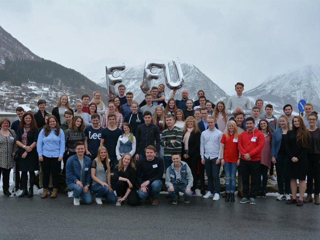 Foto av alle deltakarane på fylkesting for ungdom 2017, på parkeringsplassen ved Thon Hotel Jølster på Skei.