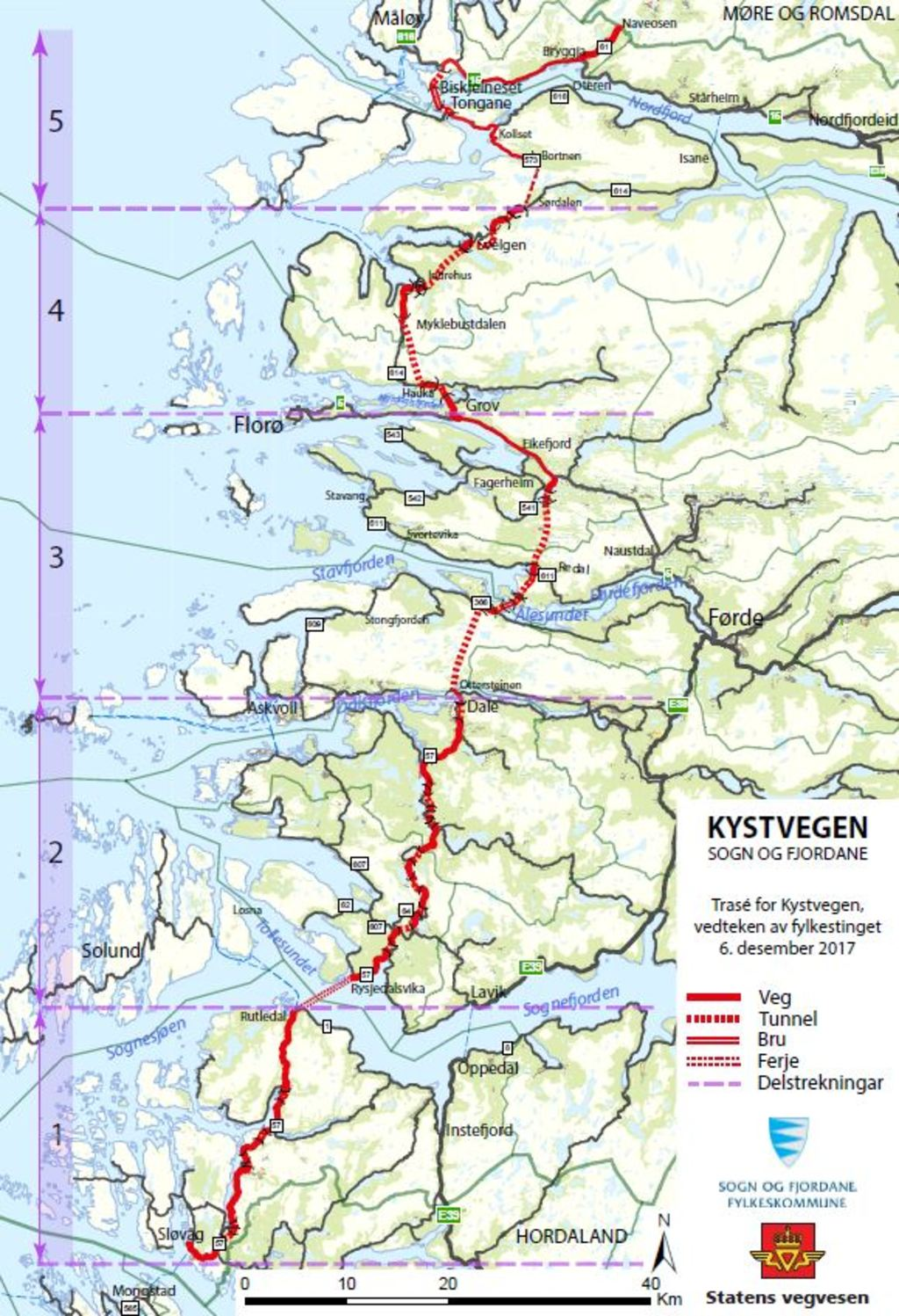 Illustrasjon av eit kart av Sogn og Fjordane, der den framtidige traseen for kystvegen gjennom fylket er teikna inn med raudt.