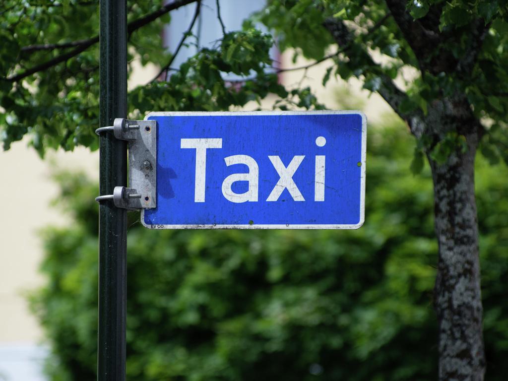 Foto av taxi-skilt. Skiltet er blått og festa til ein stolpe. Det står skrive taxi med kvit skrift på det, og det er ei kvit råme rundt ordet. I bakgrunnen ser vi grøne tre.