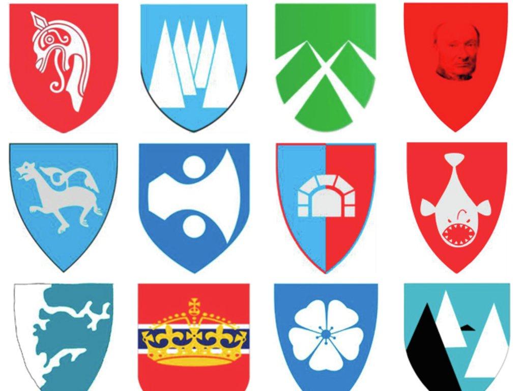 12 fylkesvåpen som er forslag til fylkesvåpen for nye Vestland fylkeskommune, ymse motiv frå natur, symbolverda eller historiske motiv.