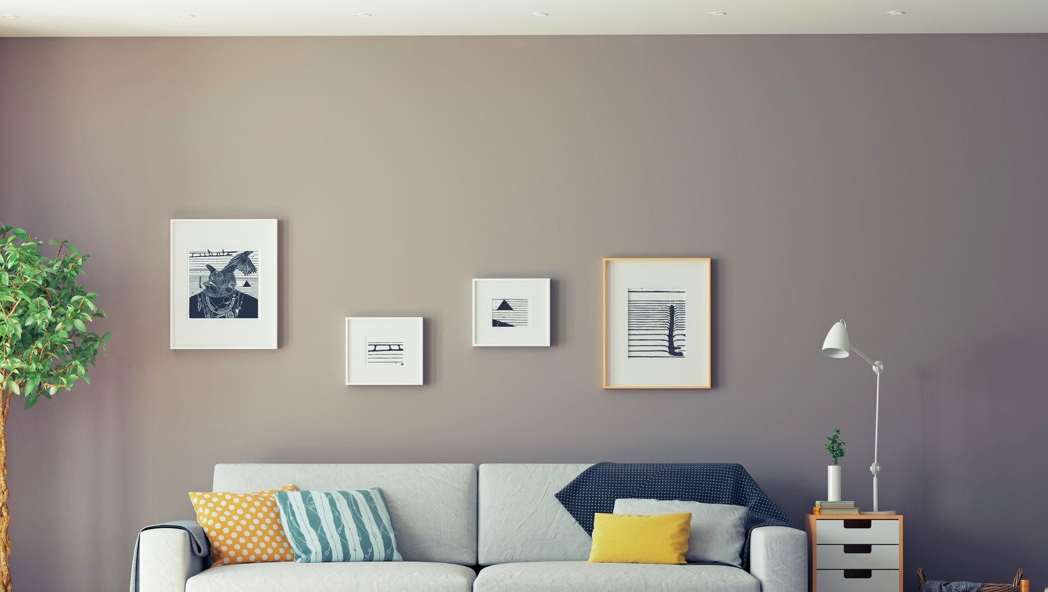vit soffa i lägenheten