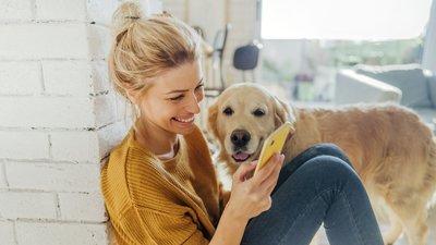 Kvinna med hund och mobil