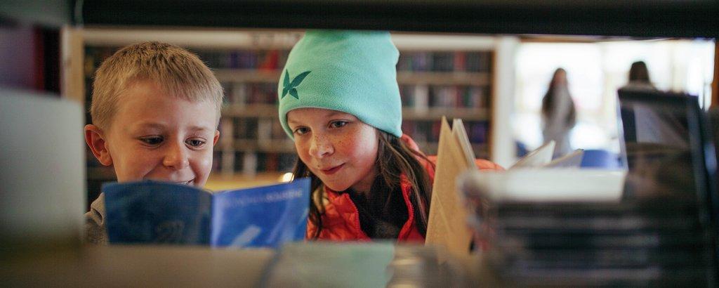 Blant hyller i skulebiblioteket
