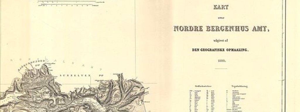 Utsnitt av kart over Nordre Bergenhus amt frå 1880 på gulna papir.