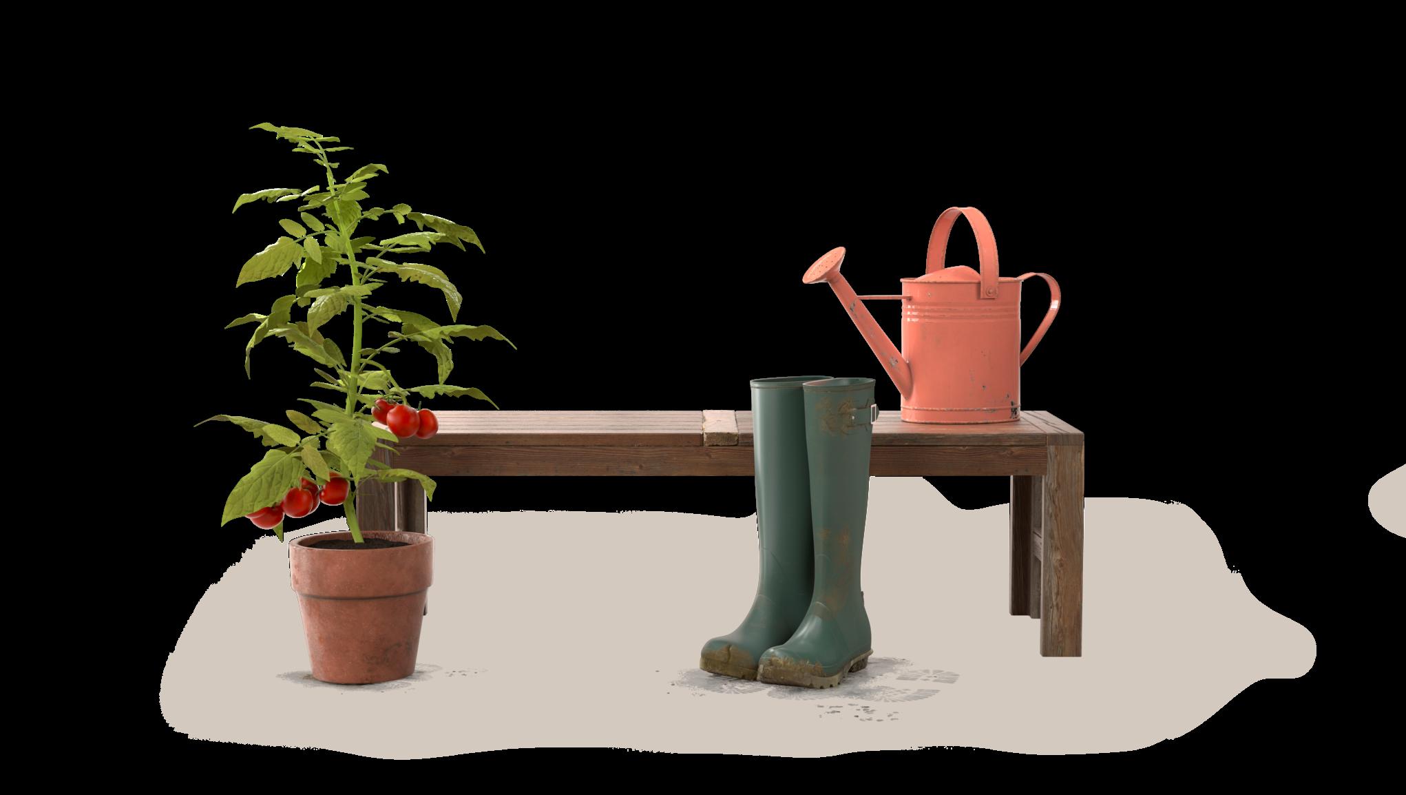 Rød vannkanne på benk med et par støvler og en potteplante