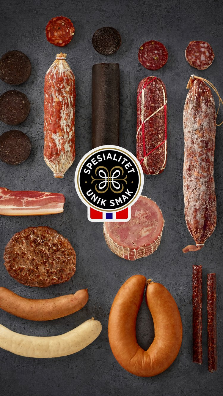 Kjøttprodukter med Spesialitetsmerket. Foto: Lisa Westgaard