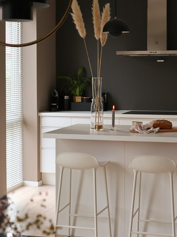 Lady Pure Color i fargen 1929 Muskatnøtt skaper varm stemning sammen med 1434 Elegant på kjøkkenet..