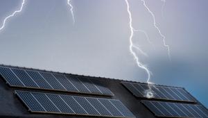 lightning strikes solar panels.