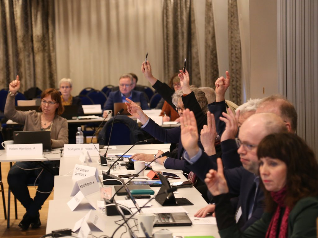 Røysting under eit møte i fellesnemnda, politikarane sit med handa i vêret.