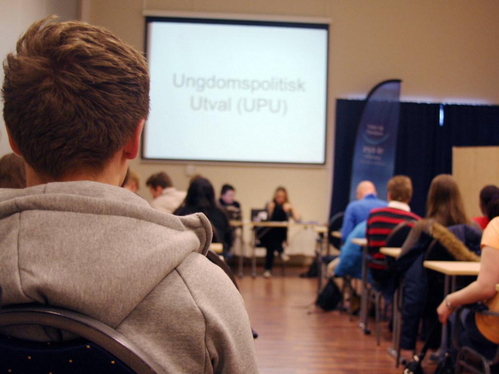 Frå fylkesting for ungdom, deltakarar og møteleiarar.