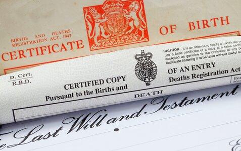 A UK Birth Certificate, Death Certificate and Will