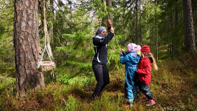 Fjellbovegen barnehage i utendørs aktivitet i skogen