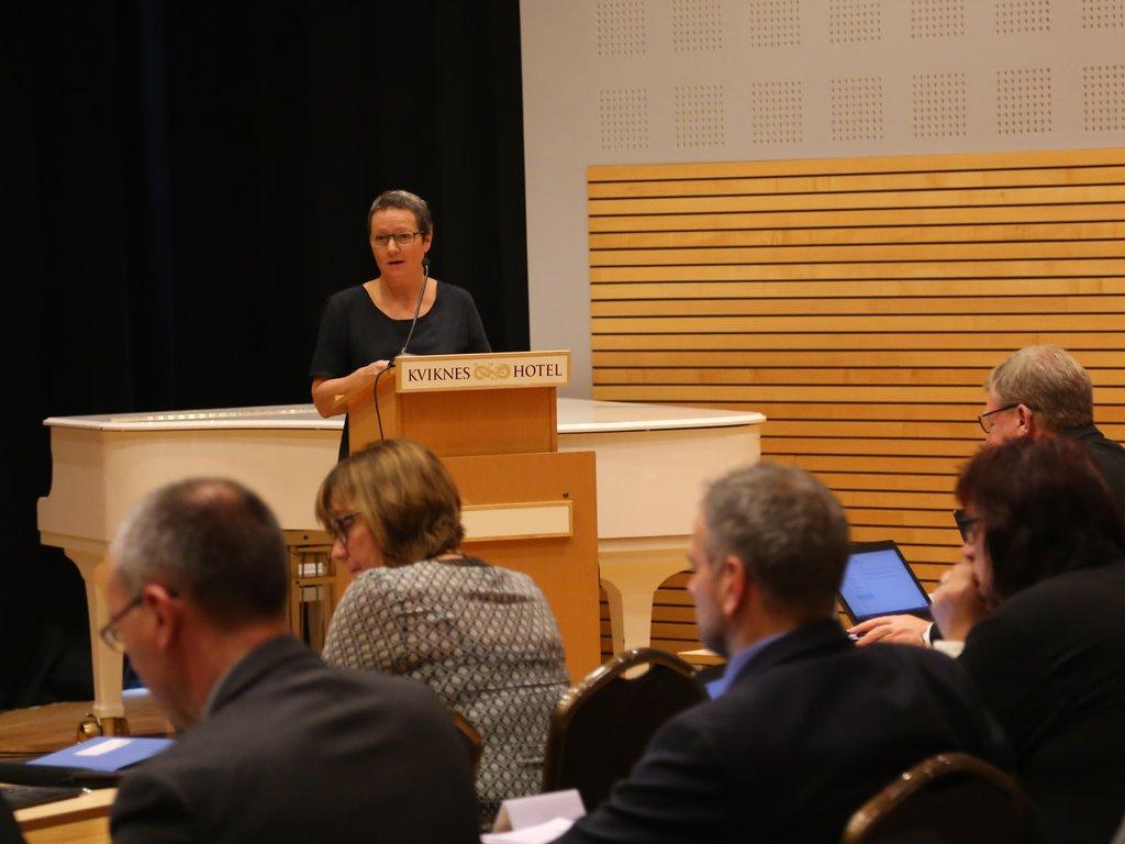 Karen Marie Hjelmeseter på talarstolen i fylkestinget.