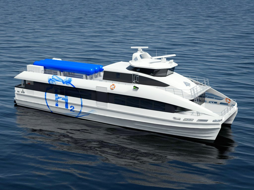 Illustrasjon av ein planlagd hydrogendriven passasjerbåt. Båten er kvit med symbolet H2 med ring rundt i blått på sida.