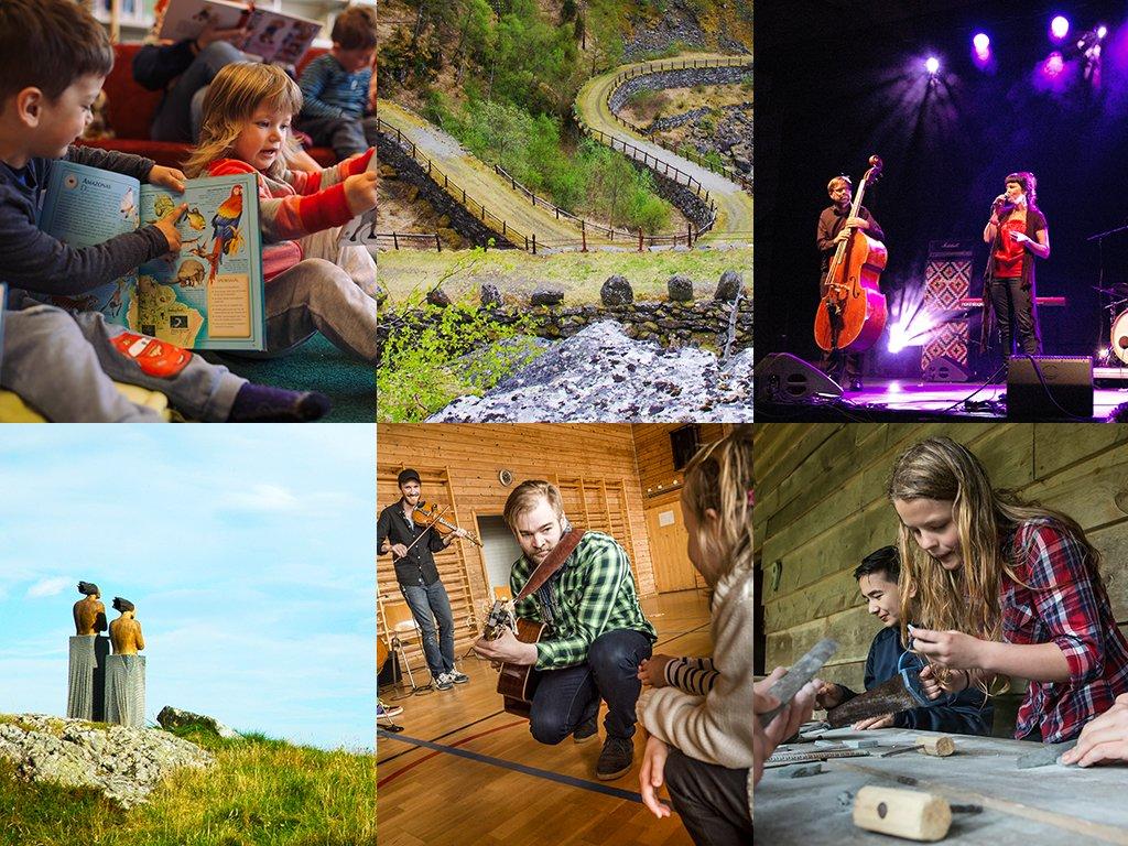 Fotocollage med ulike bilete med tema kultur, t.d. ein duo på ei scene, ein mann med gitar som opptrer i ein gymsal framfor ungar og små ungar på eit bibliotek.