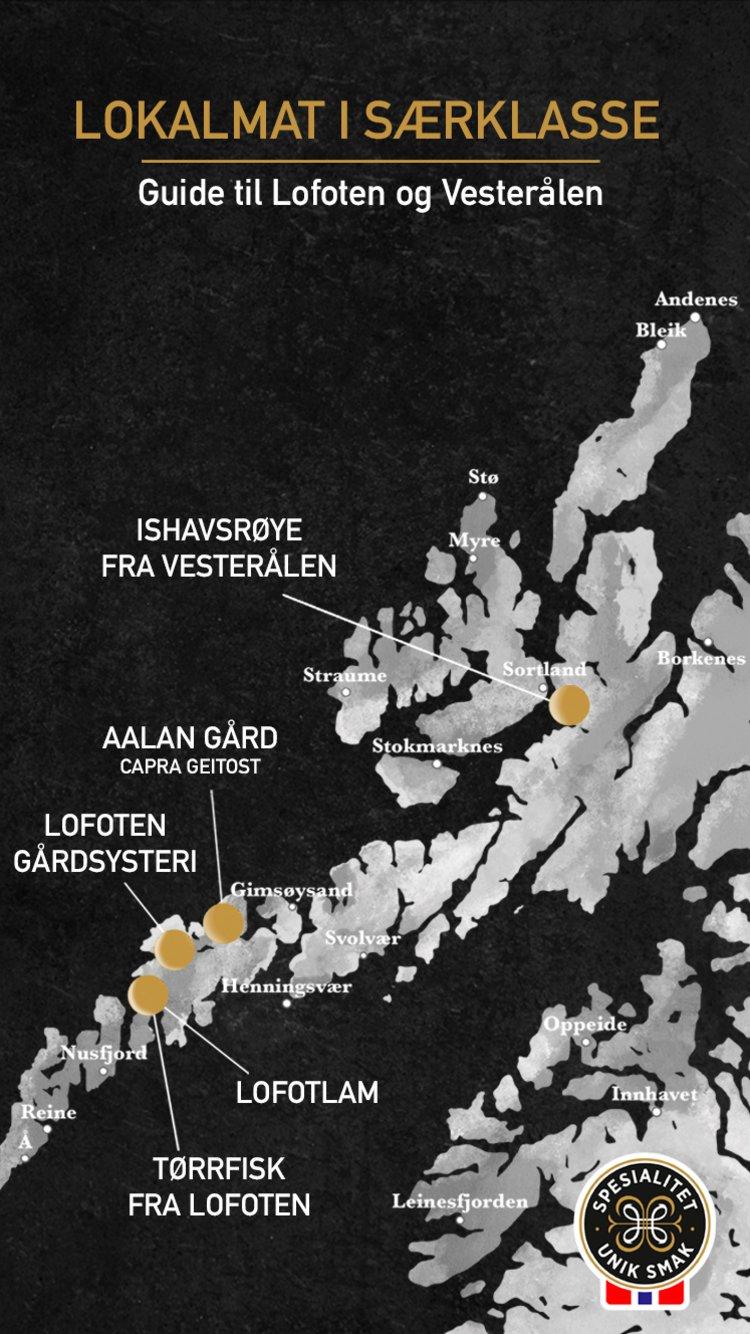 Kart over lokalmat i Lofoten og Vesterålen. Kilde: Matmerk