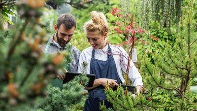 nainen ja mies puutarhassa