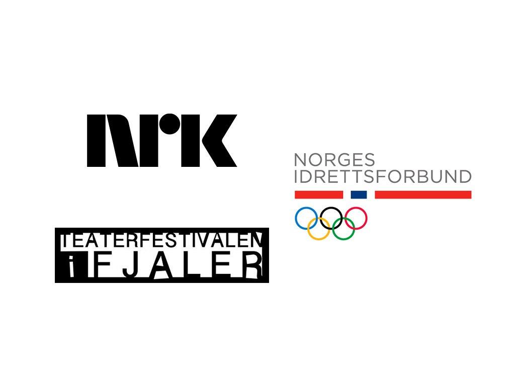 Logoane til NRK, Norges idrettsforbund og Teaterfestivalen i Fjaler