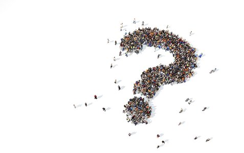 Large collection of people grouped together to form a question mark