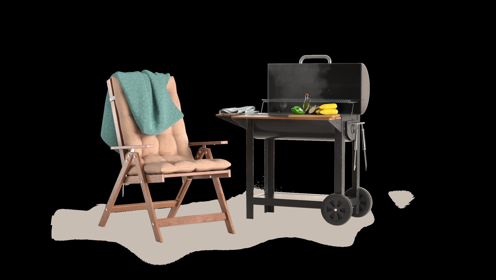 Solstol och grill