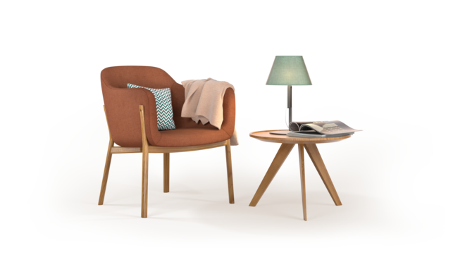 Nojatuoli ja pieni pöytä