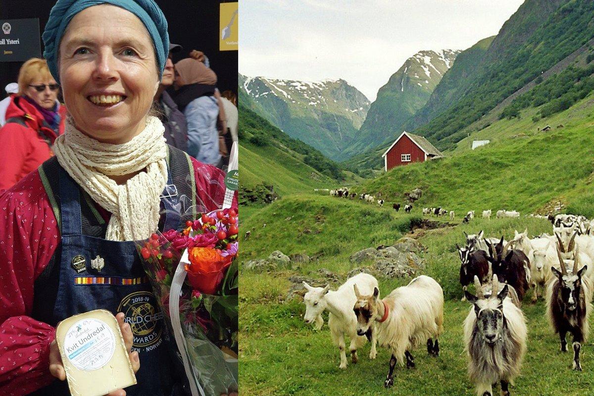 Pascale Baudonnel og geiter fra underdal stølsysteri som lager prisvinnende norsk geitost