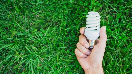 Hånd som holder lyspære mot gress. EE-avfall i natur.