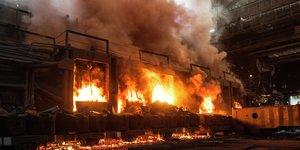 fierce fire in industrial building.