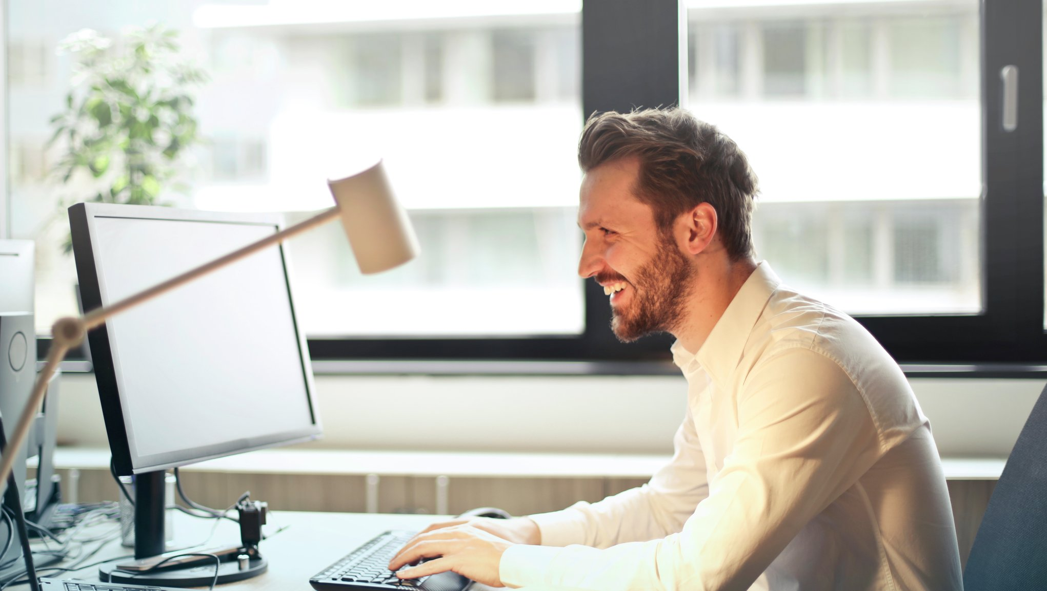 man working with computer.