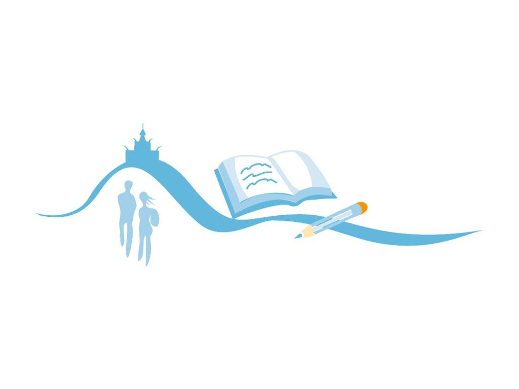Grafisk element for opplæring, stilisert bølgje med bok og blyant