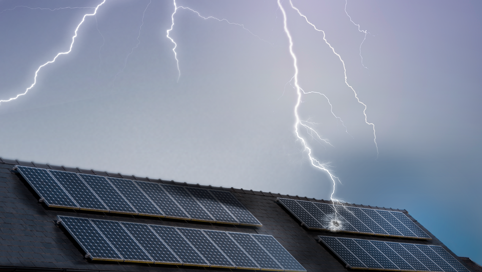 Lightning hitting a solar panel