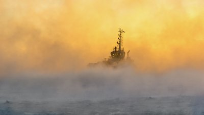 ship in fog.